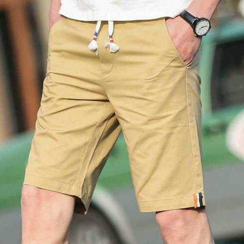 Khaki short casual color stripe elastic waist 01