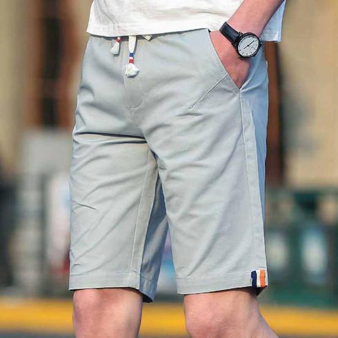 Grey short casual color stripe elastic waist 01