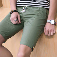 Green short casual color stripe elastic waist 01