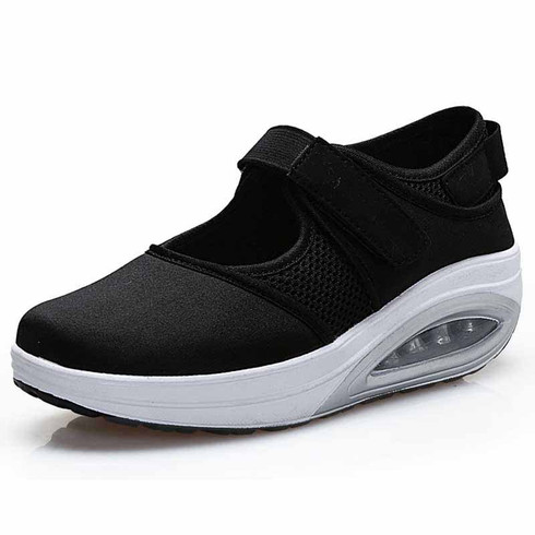 black low cut velcro rocker bottom shoe sneaker  womens