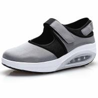 Grey low cut velcro rocker bottom shoe sneaker 01