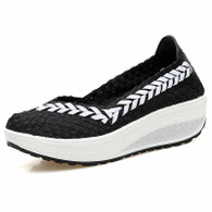 Black arrow check low cut slip on rocker bottom shoe sneaker 01