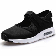 Black low cut velcro casual shoe sneaker 01