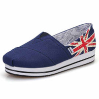 Blue flag pattern canvas slip on platform shoe 01