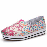 Pink floral girl pattern canvas slip on platform shoe 01
