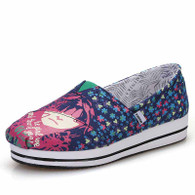 Blue floral girl pattern canvas slip on platform shoe 01