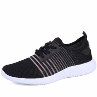 Black stripe detail flyknit shoe sneaker 01