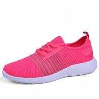 Pink stripe detail flyknit shoe sneaker 01