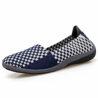 Navy check weave low cut slip on shoe sneaker 01