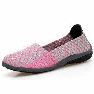 Pink check weave low cut slip on shoe sneaker 01