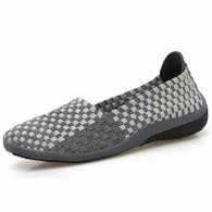 Grey check weave low cut slip on shoe sneaker 01