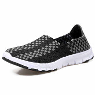 Black check weave casual slip on shoe sneaker 01