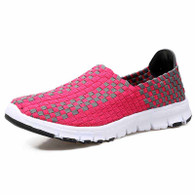 Pink check weave casual slip on shoe sneaker 01