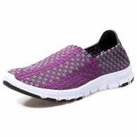 Purple check weave casual slip on shoe sneaker 01