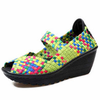 Green rainbow check weave slip on wedge shoe sandal 01
