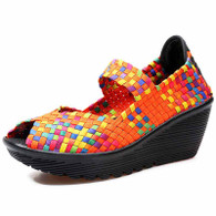 Orange rainbow check weave slip on wedge shoe sandal 01