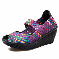 Purple rainbow check weave slip on wedge shoe sandal 01