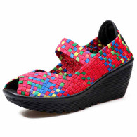 Red rainbow check weave slip on wedge shoe sandal 01