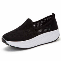Black flyknit hollow out slip on rocker bottom shoe sneaker 01