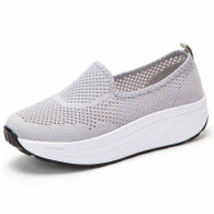 Grey flyknit hollow out slip on rocker bottom shoe sneaker 01