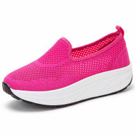 Rose red flyknit hollow slip on rocker bottom shoe sneaker 01