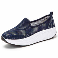 Navy flyknit hollow slip on rocker bottom shoe sneaker 01