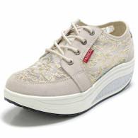 Beige floral lace rocker bottom shoe sneaker 01