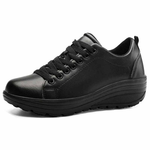 Black plain color rocker bottom shoe sneaker 01