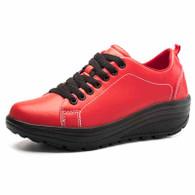 Red plain color rocker bottom shoe sneaker 01