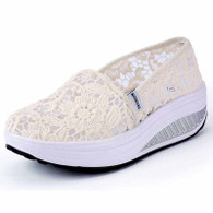 White floral lace slip on rocker bottom shoe sneaker 01