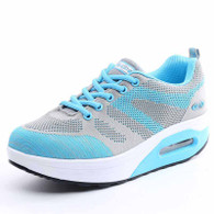 Blue grey flyknit mix pattern rocker bottom shoe sneaker 01