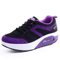 Purple flyknit mix pattern rocker bottom shoe sneaker 01