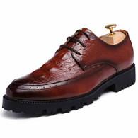 Brown brogue crocodile derby lace up dress shoe 01