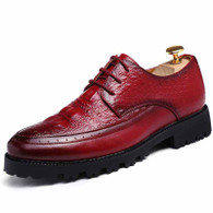 Red brogue crocodile derby lace up dress shoe 01