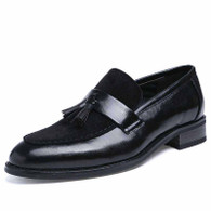 Black suede leather vamp tassel slip on dress shoe 01