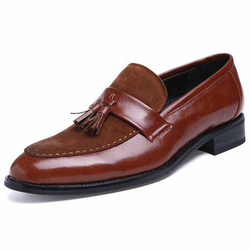 Brown suede leather vamp tassel slip on dress shoe 01