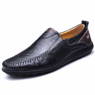 Black ornament decorated urban slip on shoe loafer 01