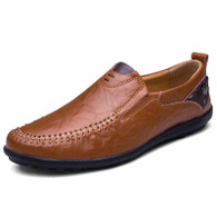 Red brown ornament decorated urban slip on shoe loafer 01