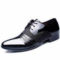 Black check pattern leather derby dress shoe 01