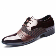 Brown check pattern leather derby dress shoe 01