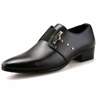 Black rivet decorated slip on dress shoe 01