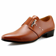 Brown rivet decorated slip on dress shoe 01