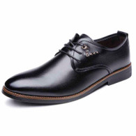 Black rivet decorated derby dress shoe 01