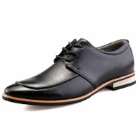 Black plain color derby lace up dress shoe 01