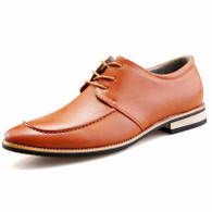 Brown plain color derby lace up dress shoe 01