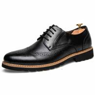 Black retro brogue lace up derby dress shoe 01