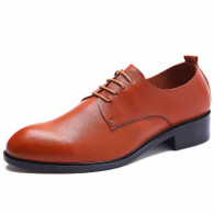 Brown simple plain lace up derby dress shoe 01