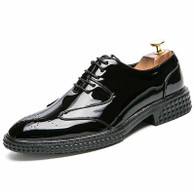 Black brogue pattern leather derby dress shoe 01