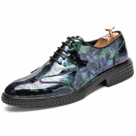 Green brogue pattern leather derby dress shoe 01