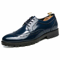 Blue brogue pattern leather derby dress shoe 1361 01